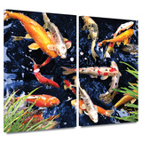 Koi 2 piece gallery-wrapped canvas Posters by George Zucconi