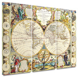 Mappe-Monde Carte Universelle de la Terre Dressee 3 piece gallery-wrapped canvas Art by Samuel Dunn