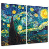 Starry Night 2 piece gallery-wrapped canvas Print by Vincent van Gogh