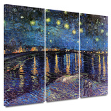 Starry Night over the Rhone 3 piece gallery-wrapped canvas Posters by Vincent van Gogh