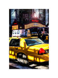 Yellow Cab Times Square with Hard Rock Cafe Photographic Print by Philippe Hugonnard