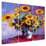 Sunflowers 3 piece gallery-wrapped canvas Art by Claude Monet
