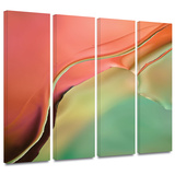 Flow Abstract I 4 piece gallery-wrapped canvas Print by Cora Niele