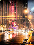 Instants of NY Series - Urban Street View on Avenue of the Americas by Night Photographic Print by Philippe Hugonnard