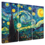 Starry Night 3 piece gallery-wrapped canvas Poster by Vincent van Gogh