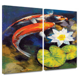 Koi Fish and Water Lily 2 piece gallery-wrapped canvas Prints by Michael Creese