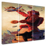 Robokong 3 piece gallery-wrapped canvas Posters by Eric Joyner