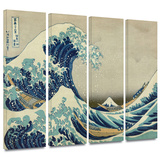 The Great Wave Off Kanagawa 4 piece gallery-wrapped canvas Prints by Katsushika Hokusai