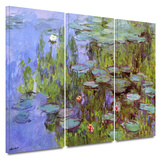 Sea Roses 3 piece gallery-wrapped canvas Gallery Wrapped Canvas Set by Claude Monet