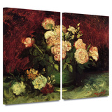Peonies and Roses 2 piece gallery-wrapped canvas Poster by Vincent van Gogh