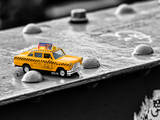 Yellow Taxi on Brooklyn Bridge Photographic Print by Philippe Hugonnard