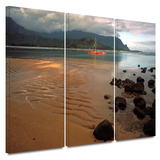 Hanalei Bay at Dawn 3 piece gallery-wrapped canvas Prints by Kathy Yates