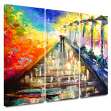 Rainy Paris Evening 3 piece gallery-wrapped canvas Poster by Susi Franco