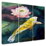 Koi and Lotus Flower 3 piece gallery-wrapped canvas Prints by Michael Creese