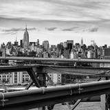 View of Brooklyn Bridge with the Empire State Buildings Photographic Print by Philippe Hugonnard