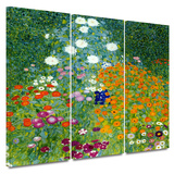 Farm Garden 3 piece gallery-wrapped canvas Art by Gustav Klimt
