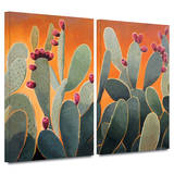 Cactus Orange 2 piece gallery-wrapped canvas Poster by Rick Kersten