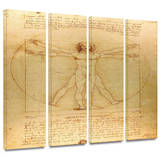 Vitruvian Man 4 piece gallery-wrapped canvas Art by Leonardo DaVinci