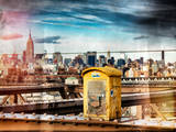 Instants of NY Series - Police Emergency Call Box on Walkway of Brooklyn Bridge Photographic Print by Philippe Hugonnard