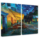 Café Terrace at Night 2 piece gallery-wrapped canvas Art by Vincent van Gogh