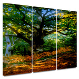 Bodmer at Oak at Fountainbleau 3 piece gallery-wrapped canvas Poster by Claude Monet