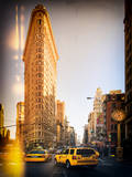 Instants of Series -Flatiron Building and Yellow Cabs - Manhattan, New York, USA Photographic Print by Philippe Hugonnard