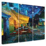 Café Terrace at Night 3 piece gallery-wrapped canvas Art by Vincent van Gogh