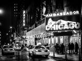 Chicago the Musical - Yellow Cabs in front of the Ambassador Theatre in Times Square by Night Photographic Print by Philippe Hugonnard