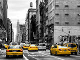 Urban Scene with Yellow Cab in Broadway Photographic Print by Philippe Hugonnard