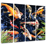 Koi 4 piece gallery-wrapped canvas Gallery Wrapped Canvas Set by George Zucconi