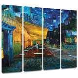 Café Terrace at Night 4 piece gallery-wrapped canvas Poster by Vincent van Gogh