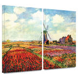 Windmill 2 piece gallery-wrapped canvas Posters by Claude Monet
