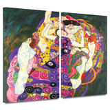 Virgins 2 piece gallery-wrapped canvas Prints by Gustav Klimt