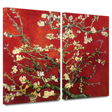 Interpretation in Red Almond Blossom 2 piece gallery-wrapped canvas Print by Vincent van Gogh