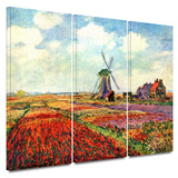 Windmill 3 piece gallery-wrapped canvas Posters by Claude Monet