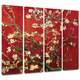 Interpretation in Red Almond Blossom 4 piece gallery-wrapped canvas Gallery Wrapped Canvas Set by Vincent van Gogh
