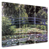Bridge at Sea Rose Pond 3 piece gallery-wrapped canvas Art by Claude Monet