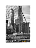 View of Brooklyn Bridge with the One World Trade Center (1WTC) and New York by Gehry Buildings Reproduction photographique par Philippe Hugonnard