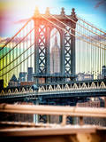 Instants of NY Series - Manhattan Bridge with Empire State Building Center from Brooklyn Bridge Photographic Print by Philippe Hugonnard