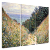 Footpath 3 piece gallery-wrapped canvas Posters by Claude Monet