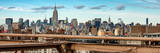 Panoramic Cityscape - View of Brooklyn Bridge with the Empire State Buildings Photographic Print by Philippe Hugonnard