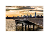 Jetty View with Manhattan and One World Trade Center (1WTC) at Sunset Photographic Print by Philippe Hugonnard