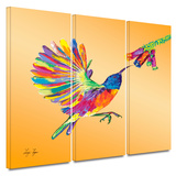 Humming 3 piece gallery-wrapped canvas Art by Linzi Lynn