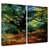 Bodmer at Oak at Fountainbleau 2 piece gallery-wrapped canvas Prints by Claude Monet