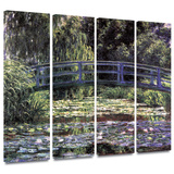 Bridge at Sea Rose Pond 4 piece gallery-wrapped canvas Gallery Wrapped Canvas Set by Claude Monet