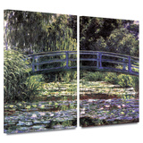 Bridge at Sea Rose Pond 2 piece gallery-wrapped canvas Gallery Wrapped Canvas Set by Claude Monet