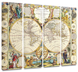 Mappe-Monde Carte Universelle de la Terre Dressee 4 piece gallery-wrapped canvas Art by Samuel Dunn