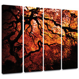 Fire Breather: Japanese Tree 4 piece gallery-wrapped canvas Gallery Wrapped Canvas Set by John Black
