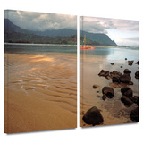 Hanalei Bay at Dawn 2 piece gallery-wrapped canvas Print by Kathy Yates