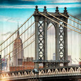 Instants of NY Series - Manhattan Bridge with the Empire State Building from Brooklyn Bridge Papier Photo par Philippe Hugonnard